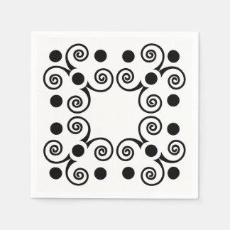 Black and White Ornate Elegance Paper Napkins. Disposable Napkin