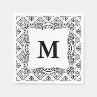 Black and White Ornate Elegance Paper Napkins. Disposable Napkins