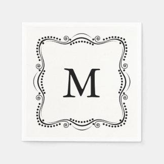 Black and White Ornate Elegance Paper Napkins. Paper Napkin