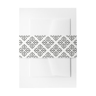 Black and White Ornate Elegance Wedding Belly Band Invitation Belly Band