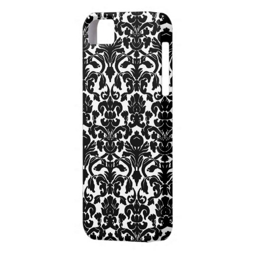 Black and White Ornate Floral Damask Pattern iPhone 5 Covers