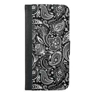 Black And White Ornate Paisley iPhone 6/6s Plus Wallet Case