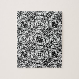 Black and White Ornate Pattern Jigsaw Puzzle