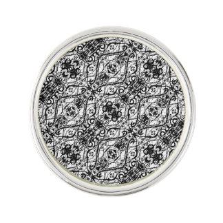 Black and White Ornate Pattern Lapel Pin
