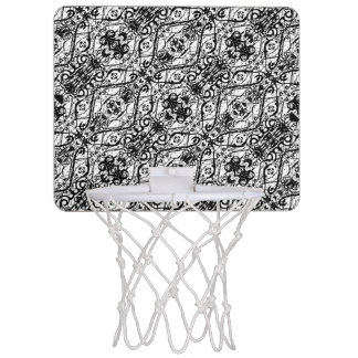Black and White Ornate Pattern Mini Basketball Hoop