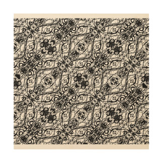Black and White Ornate Pattern Wood Wall Art