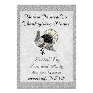 Black and White Ornate Thanksgiving Turkey Personalized Invite
