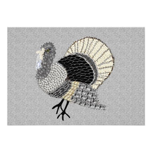 Black and White Ornate Thanksgiving Turkey Personalized Announcements