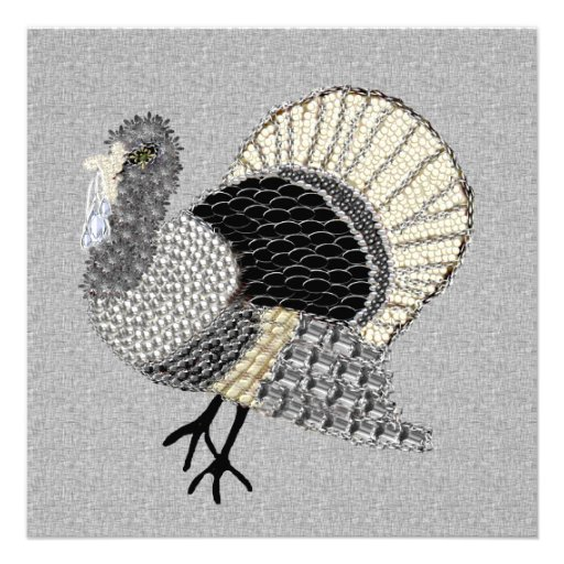Black and White Ornate Thanksgiving Turkey Personalized Announcement