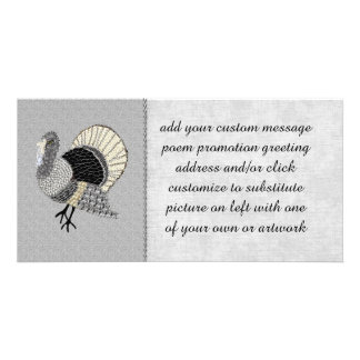 Black and White Ornate Thanksgiving Turkey Photo Greeting Card