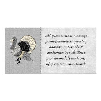 Black and White Ornate Thanksgiving Turkey Photo Greeting Card