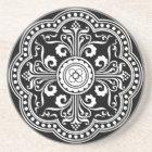 Black and White Ornate Victorian Pattern Coaster