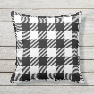 Black and White Outdoor Gingham Pattern Art Design Outdoor Cushion