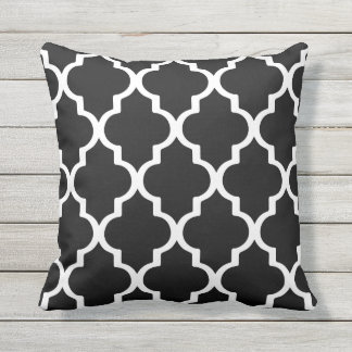 Black and White Outdoor Pillows Quatrefoil Lattice