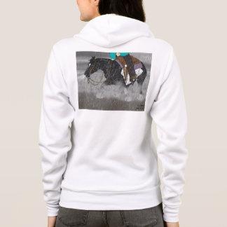 Black and White Overo Horse Stallion Hoodie