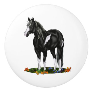 Black and White Overo Paint Horse Ceramic Knob
