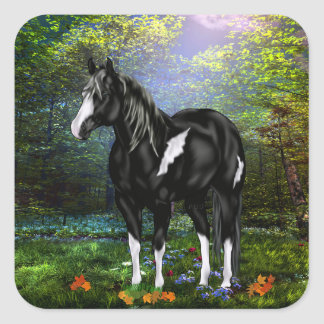 Black and White Overo Paint Horse Square Sticker