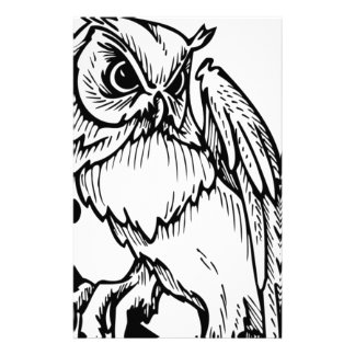 Black and white owl design personalized stationery