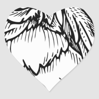 Black and white owl design heart stickers