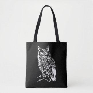 Black and White Owl Design Tote Bag