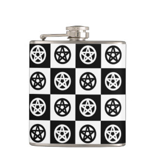 Black and White Pagan Pentacles Hip Flask
