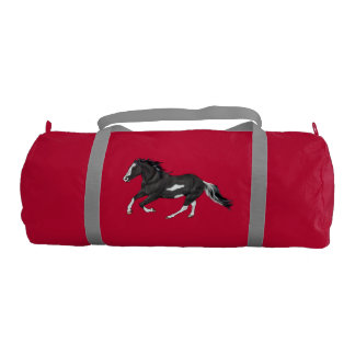 Black and White Paint Horse Running Gym Bag