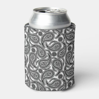 Black and white paisley can cooler