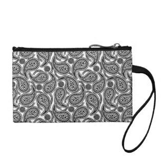 Black and white paisley coin purse