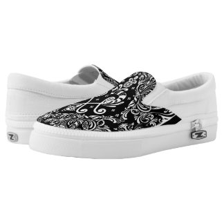 Black and White Paisley Design Slip on Shoes
