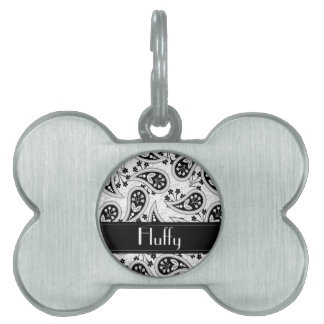 Black and White Paisley Pattern Pet Name Tag