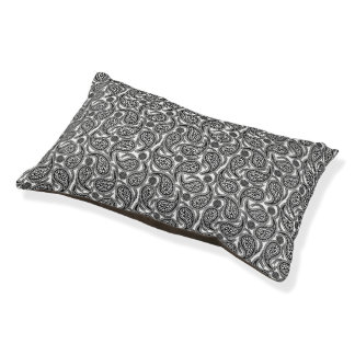 Black and white paisley pet bed