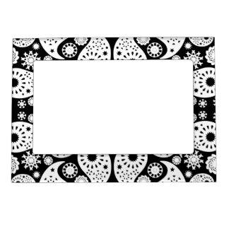 Black and White Paisley. Photo Frame Magnet
