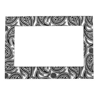 Black and white paisley photo frame magnets