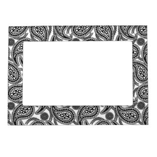 Black and white paisley picture frame magnet