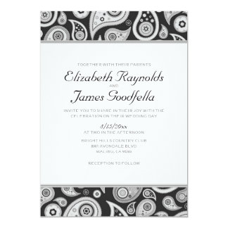 Black And White Paisley Wedding Invitations