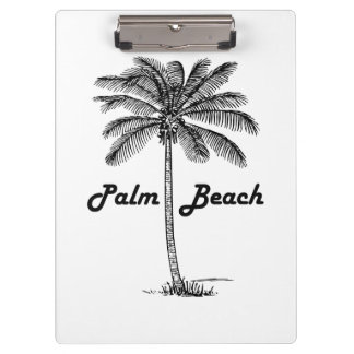Black and white Palm Beach Florida & Palm design Clipboard