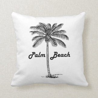 Black and white Palm Beach Florida & Palm design Cushion