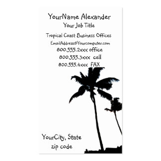 Black and White Palm Tree Pack Of Standard Business Cards