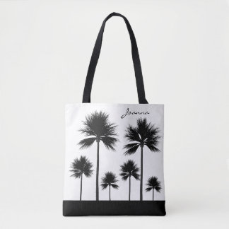 Black and White Palm Tree with Name Beach Tote Bag