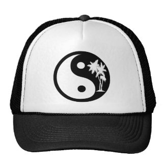 Black and White Palm Tree Yin Yang Hat