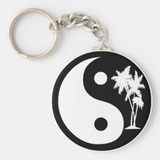 Black and White Palm Tree Yin Yang Keychain