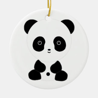 Black and White Panda Bear Ceramic Ornament