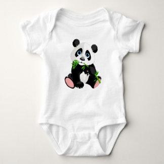 Black and White Panda Bear Eating Green Bamboo Baby Bodysuit