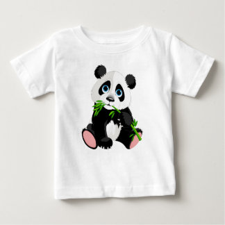 Black and White Panda Bear Eating Green Bamboo Baby T-Shirt