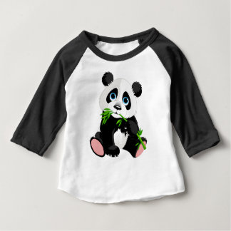 Black and White Panda Bear Eating Green Bamboo Baby T-Shirt
