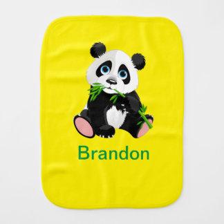 Black and White Panda Bear Eating Green Bamboo Burp Cloth