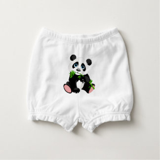 Black and White Panda Bear Eating Green Bamboo Nappy Cover