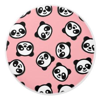 Black and White Panda Cartoon Pattern Ceramic Knob