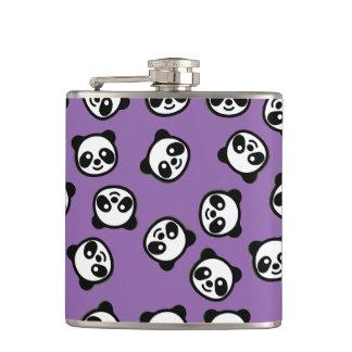 Black and White Panda Cartoon Pattern Hip Flask