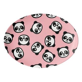Black and White Panda Cartoon Pattern Porcelain Serving Platter